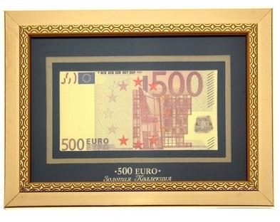"""Купюра 500 евро в рамке """"Золотая коллекция"""" 172838"""