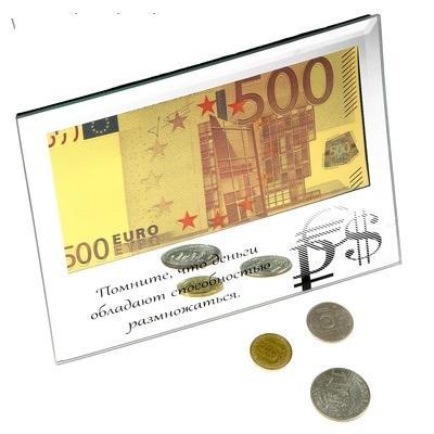 """Купюра 500 Евро """"Деньги обладают способностью размножаться"""" в зеркальной рамке 628704"""