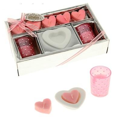 """Свечи восковые (набор 7 свечей + 3 подсвечника) """"Первая любовь"""", цвет розовый 107883"""