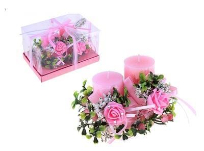 """Свечи восковые (набор 2 шт + декор) """"Греция"""", цвет розовый 108510"""