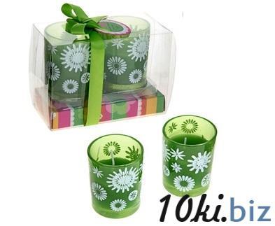 """Свечи восковые (набор 2 шт) """"Цветочки"""", цвет зеленый 167192 Сувенирные наборы для мужчин в Казахстане"""