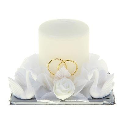 Свеча свадебная с лебедями, цвет белый 777645