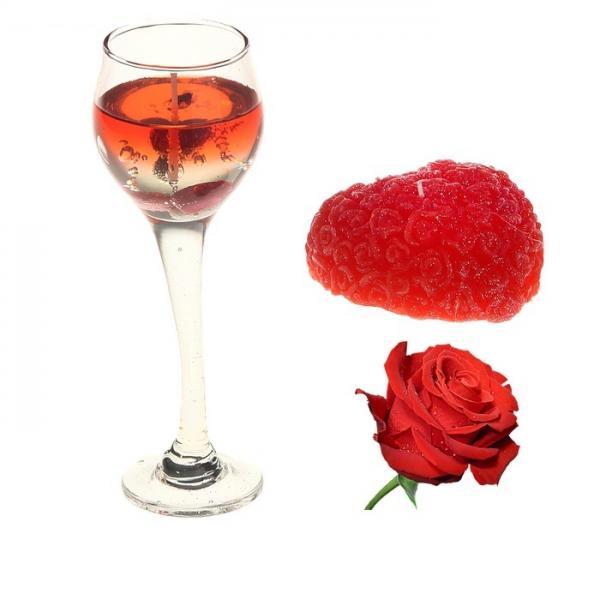 """Набор свечей (1 гелевая + 1 восковая) """"Восторг"""", цвет красный, аромат роза 825880"""