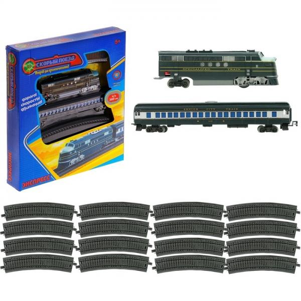 """Железная дорога """"Экспресс"""", 1 вагон, длина пути 360 см, со светом, работает от батареек 504356"""