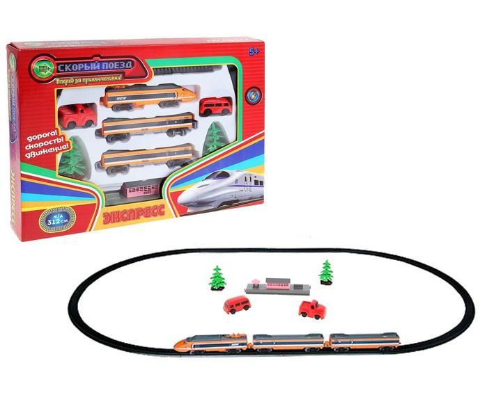 """Железная дорога """"Экспресс"""", 2 вагона, дом, 2 дерева, 2 машины, путь 312 см 504360"""