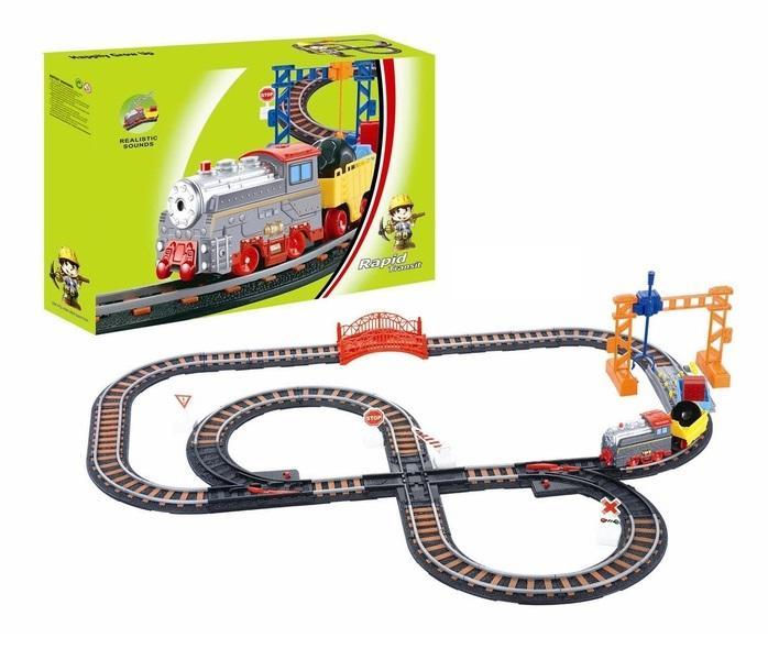 """Железная дорога """"Грузовой локомотив"""", работает от батареек, звуковые эффекты 612441"""