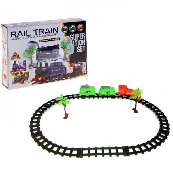 """Железная дорога """"Грузовой локомотив"""", работает от батареек, с 2 вагонами 734988"""