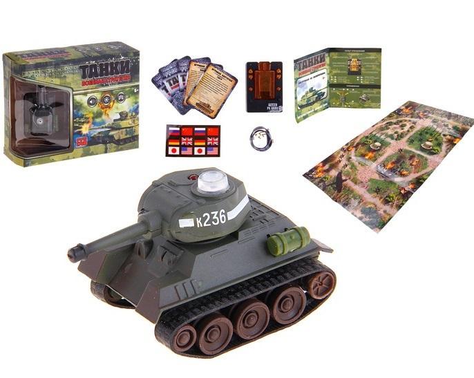 """Танк радиоуправляемый """"Т-34"""", заряд от пульта управления, бонус (игровые карточки и игровое поле), световые и звуковые эффекты, 1:48 840976"""