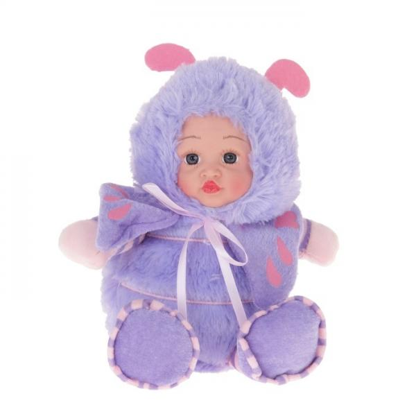 """Мягкая игрушка """"Кукла костюм божья коровка"""" сиреневая 304740"""