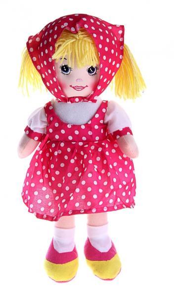 """Мягкая игрушка кукла """"Ксюша"""" малиновое платье, косынка в горох 330345"""