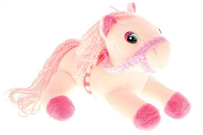 """Мягкая музыкальная игрушка """"Лошадь"""" розовая, попона в клетку 326355"""