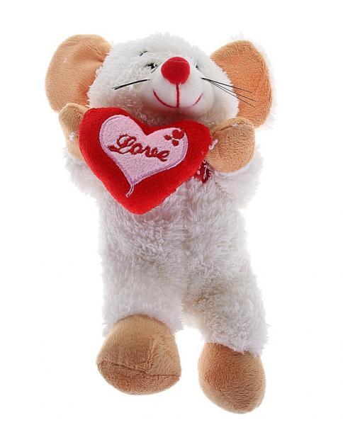 "Мягкая игрушка ""Мышка белая"" с сердцем, музыкальная 329906"