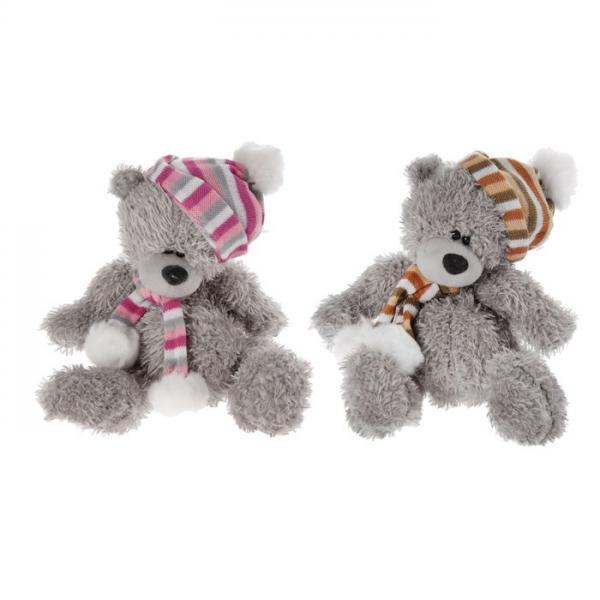 """Мягкая игрушка """"Мишка в шапке"""" шарф с помпонами, цвета МИКС 327628"""