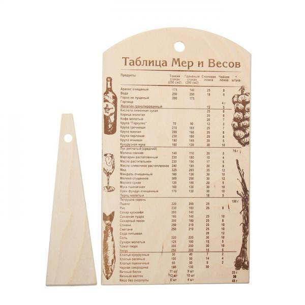 """Доска разделочная """"Береза"""" с таблицей мер и весов, лопатка в подарок 1101113"""