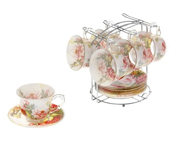 """Сервиз чайный """"Июль"""", 12 предметов на подставке: 6 чашек 220 мл, 6 блюдец 811260"""