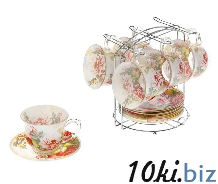 """Сервиз чайный """"Июль"""", 12 предметов на подставке: 6 чашек 220 мл, 6 блюдец 811260 купить в Актобе - Кофейные и чайные сервизы"""