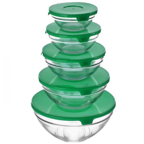 """Набор салатников с крышками """"Классика"""", 5 шт.: 1 л, 0,8 л, 0,6 л, 0,3 л, 0,18 л, зеленый 906123"""