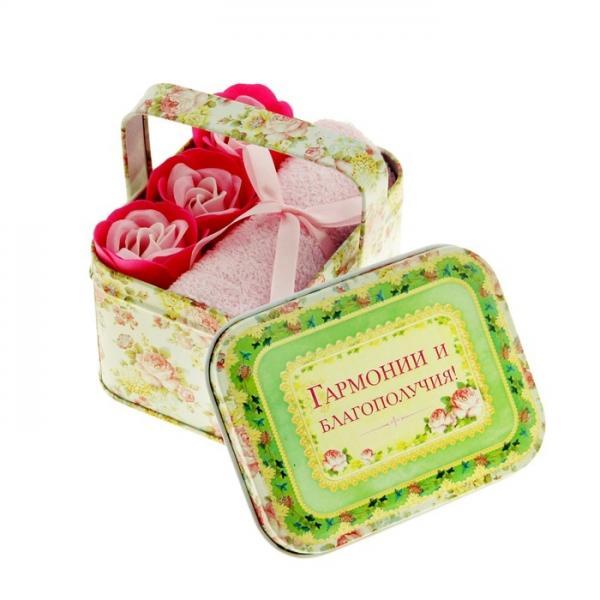 """Набор мыльные лепестки 3 шт. + полотенце розовое в корзиночке большой """"Гармонии и благополучия"""" 870968"""