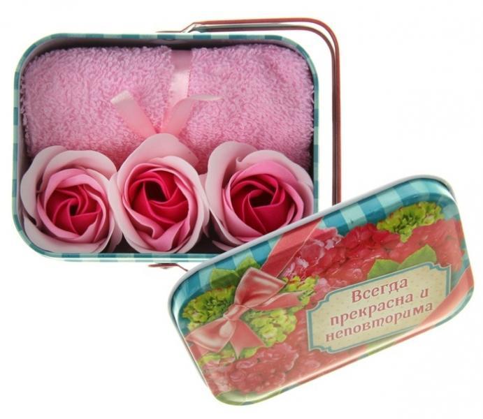 """Набор мыльные лепестки 3 шт. + полотенце розовое в корзиночке большой """"Всегда прекрасна и неповторима"""" 870972"""