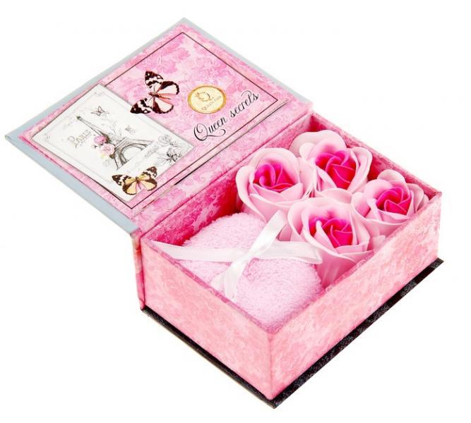 """Набор мыльных лепестков """"Следуй за мечтой"""", смешанный, полотенце розовое, с открыткой, в шкатулке, цвет бело-розовый 874159"""