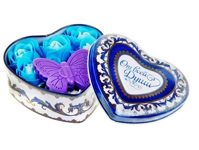 """Набор мыльных лепестков в шкатулке-сердце """"От всей души"""": 5 бутонов, мыло-бабочка, серпантин 320861"""