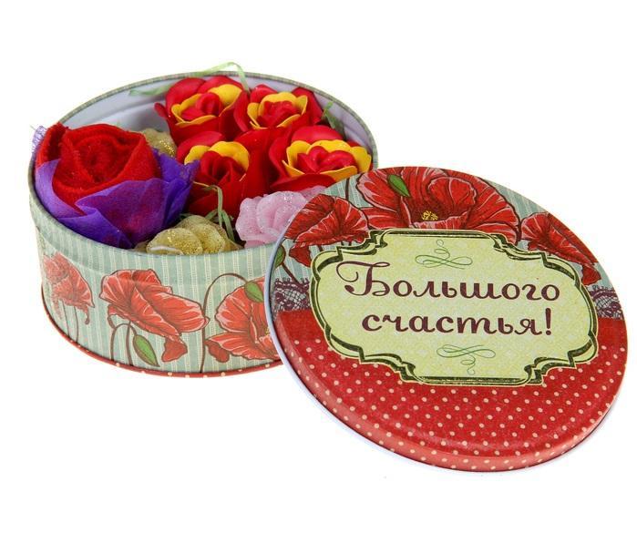 """Набор мыльных лепестков 4 шт. + полотенце + 3 свечи в шкатулке """"Большого счастья"""" 187458"""