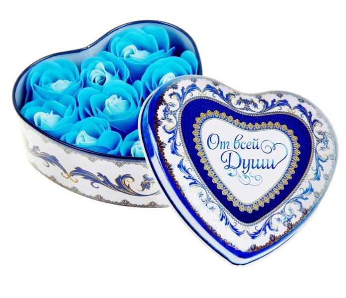 """Набор мыльных лепестков в шкатулке-сердце """"От всей души"""": 9 бутонов 320866"""