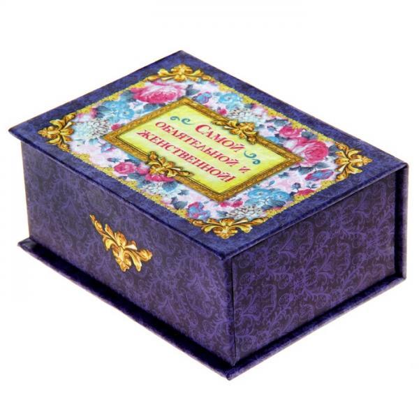"""Набор мыльных лепестков """"Самой обаятельной"""", смешанный, цветок, с открыткой, в шкатулке, цвет фиолетовый 874166"""