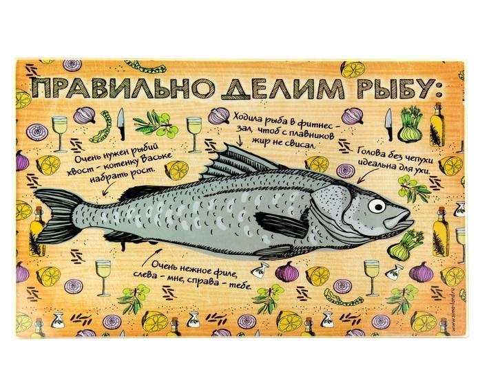 """Многофункциональная разделочная доска - подставка под горячее """"Правильно делим рыбу"""" 850497"""