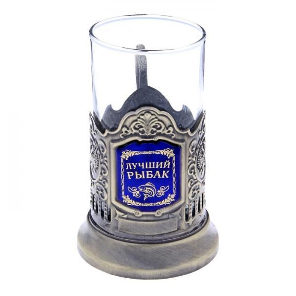 """Подстаканник со стаканом """"Лучший рыбак"""", латунный цвет 116681"""