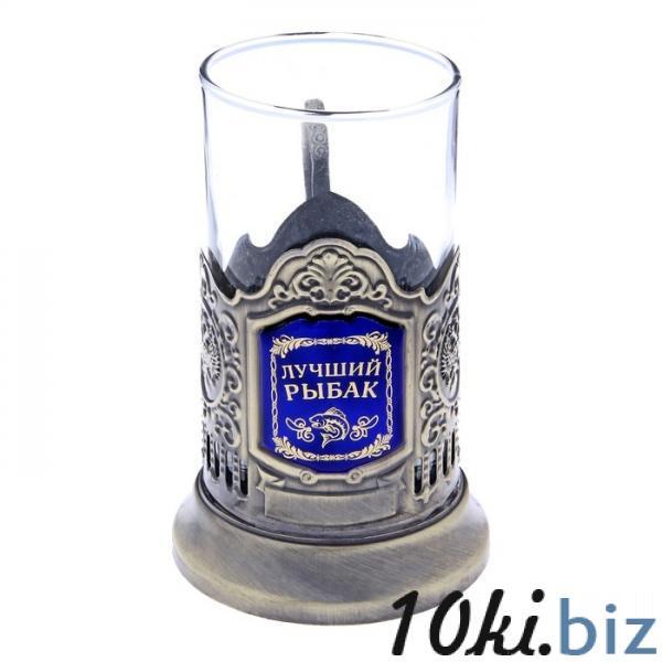 """Подстаканник со стаканом """"Лучший рыбак"""", латунный цвет 116681 купить в Актобе - Подстаканники"""
