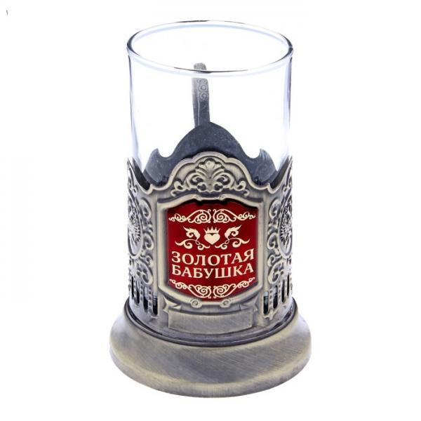 "Подстаканник со стаканом ""Золотая бабушка"", латунный цвет 116678"