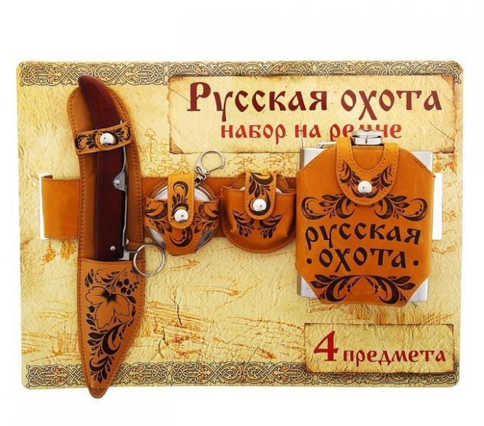 "Набор на ремне ""Русская охота"" (4 предмета) 161012"