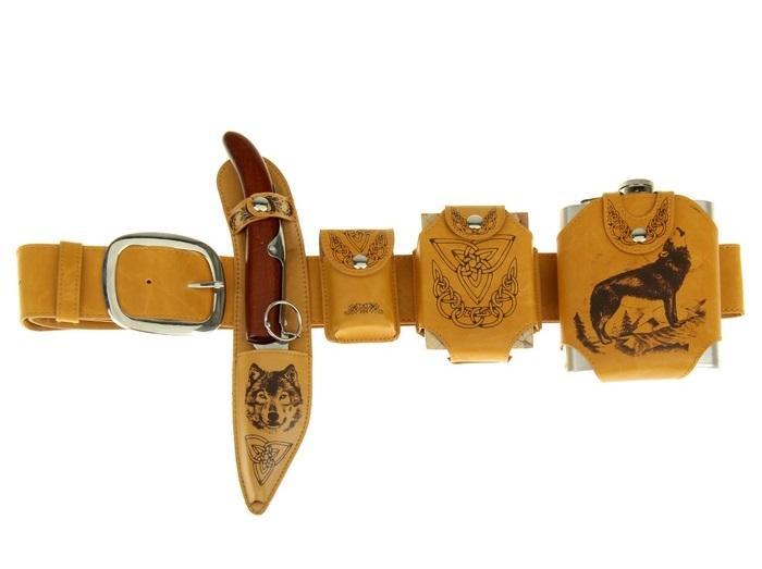 """Набор на ремне """"Волк"""" (4 предмета: фляжка, зажигалка, нож, карты), дл. 110 см 161010"""