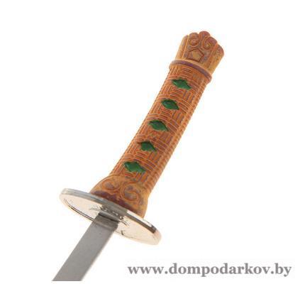 Фото Подарки мужчине  Нож танто сувенирный на подставке, кожа, коричневые ножны, ромбики