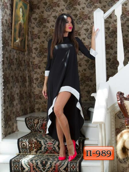 Арт. П-989   Длинное платье с асимметрией