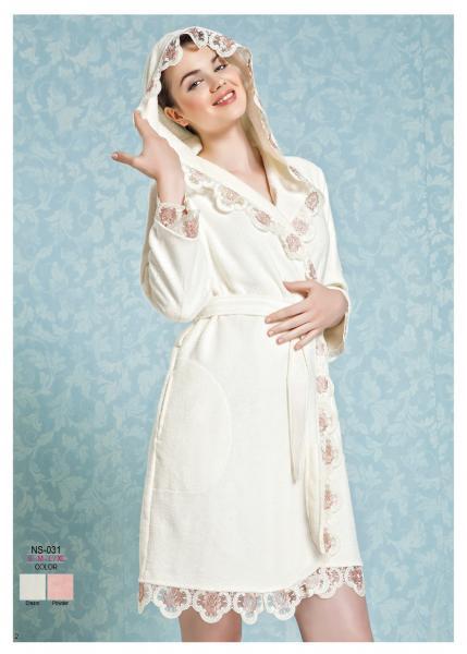Женский халат с капюшоном велюровый Nusa NS-031
