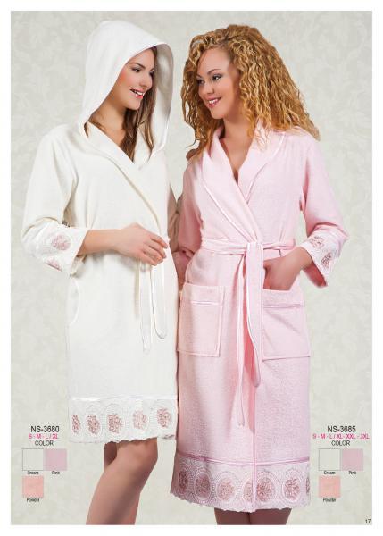 Женский халат с капюшоном Nusa NS-3680