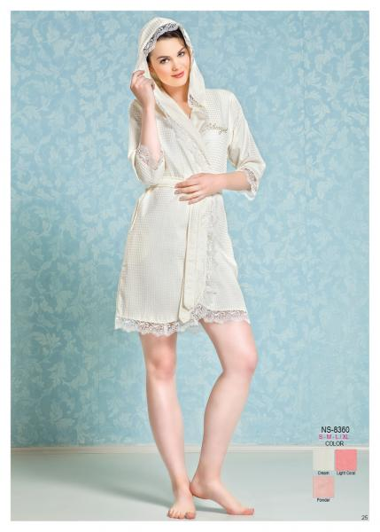 Женский халат с капюшоном Nusa NS-8360