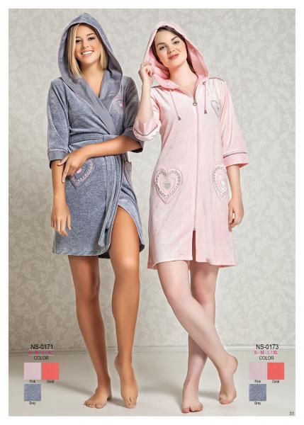 Женский халат с капюшоном Nusa NS-0173