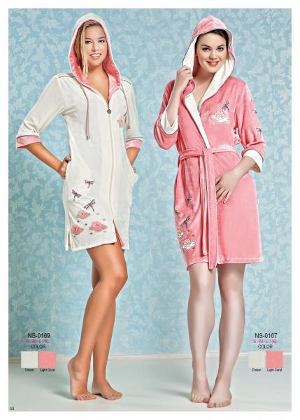 Женский халат короткий с капюшоном Nusa NS-0169