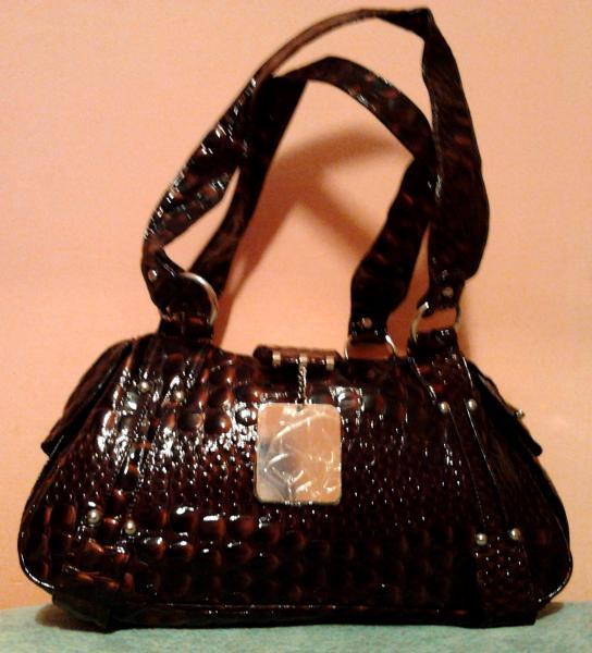 """Дамская сумка (""""крокодиловая"""" искусственная кожа) бордово-коричневая"""