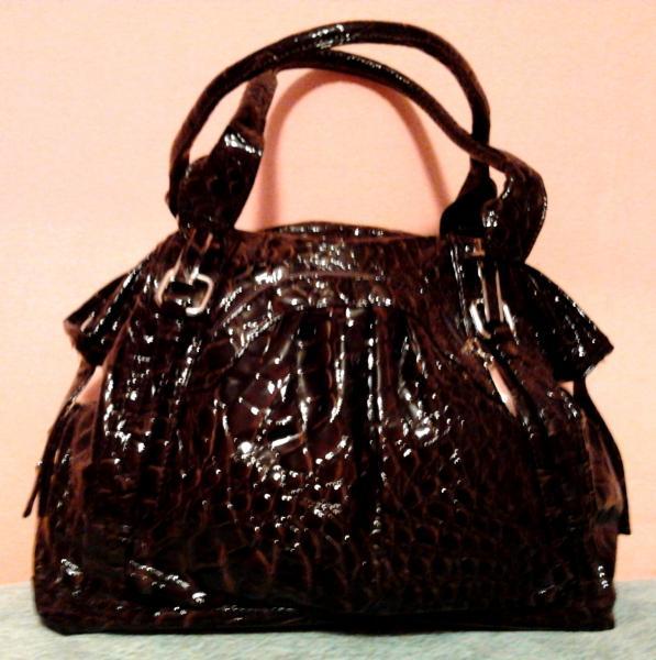 """Стильная сумочка (искусственная """"крокодиловая"""" кожа) бордово-коричневая"""