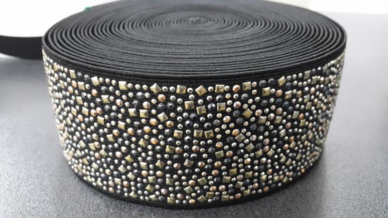 Резинка обувная эластичная черная + золотые вкрапления