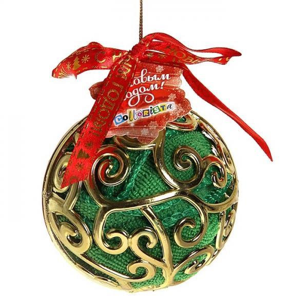 """Полотенце сувенирное """"Collorista"""" в новогоднем золотом шаре, зеленое 30х30 см, микрофибра 1108919"""