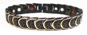 Фото Магнитные браслеты, Стальные, С биокерамическими вставками Магнитный стальной браслет Австрия с биокерамическими вставками и черным ионным покрытием