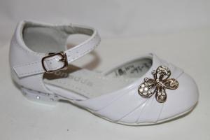 Фото Туфли, Праздничные туфли для девочек, до 32 Туфли 093-3 белый