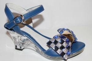 Фото Туфли, Праздничные туфли для девочек, до 38 Босоножки W-111 blue