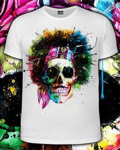 Фото Футболки мужские длинный рукав Hippy Skull (Светится в темноте и ультрафиолете)