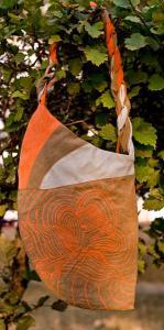 Фото Сумки молодежные Лепесток (оранжевый с серым)